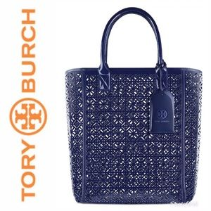 Tory Burch Perforated Tote Navy Purse Bag NWT